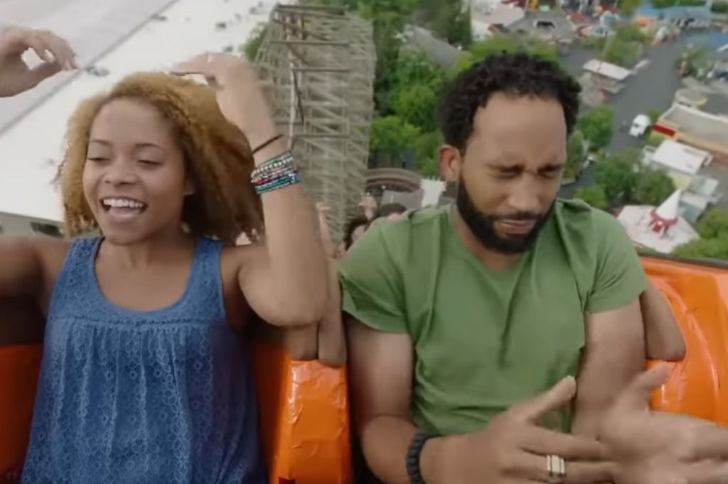 Actor terrified of roller coasters trying to pretend like he likes them for a commercial