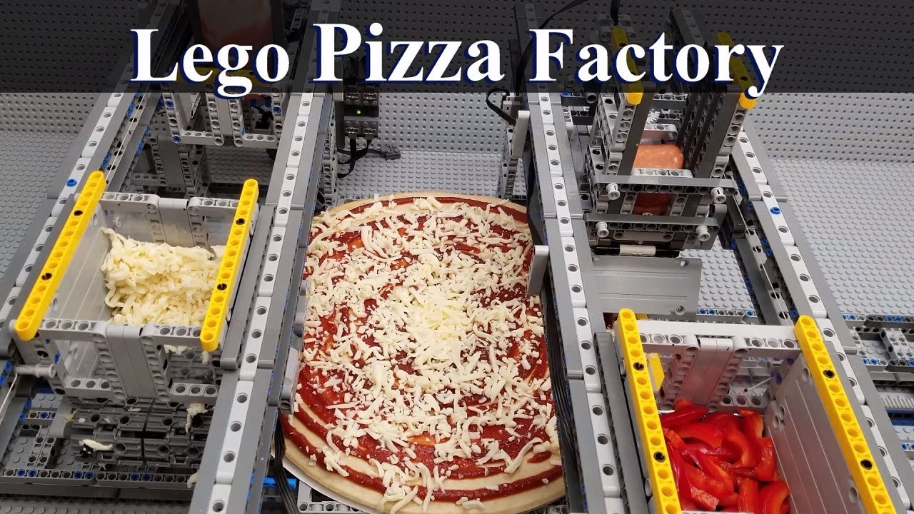 This guy built an automated pizza assembly line out of Legos