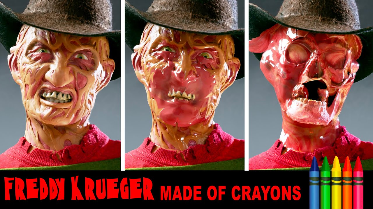 Freddy Krueger made out of crayons and then melted