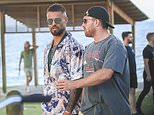 NRL stars celebrate their State of Origin win in Byron Bay drinking beer and chatting to locals