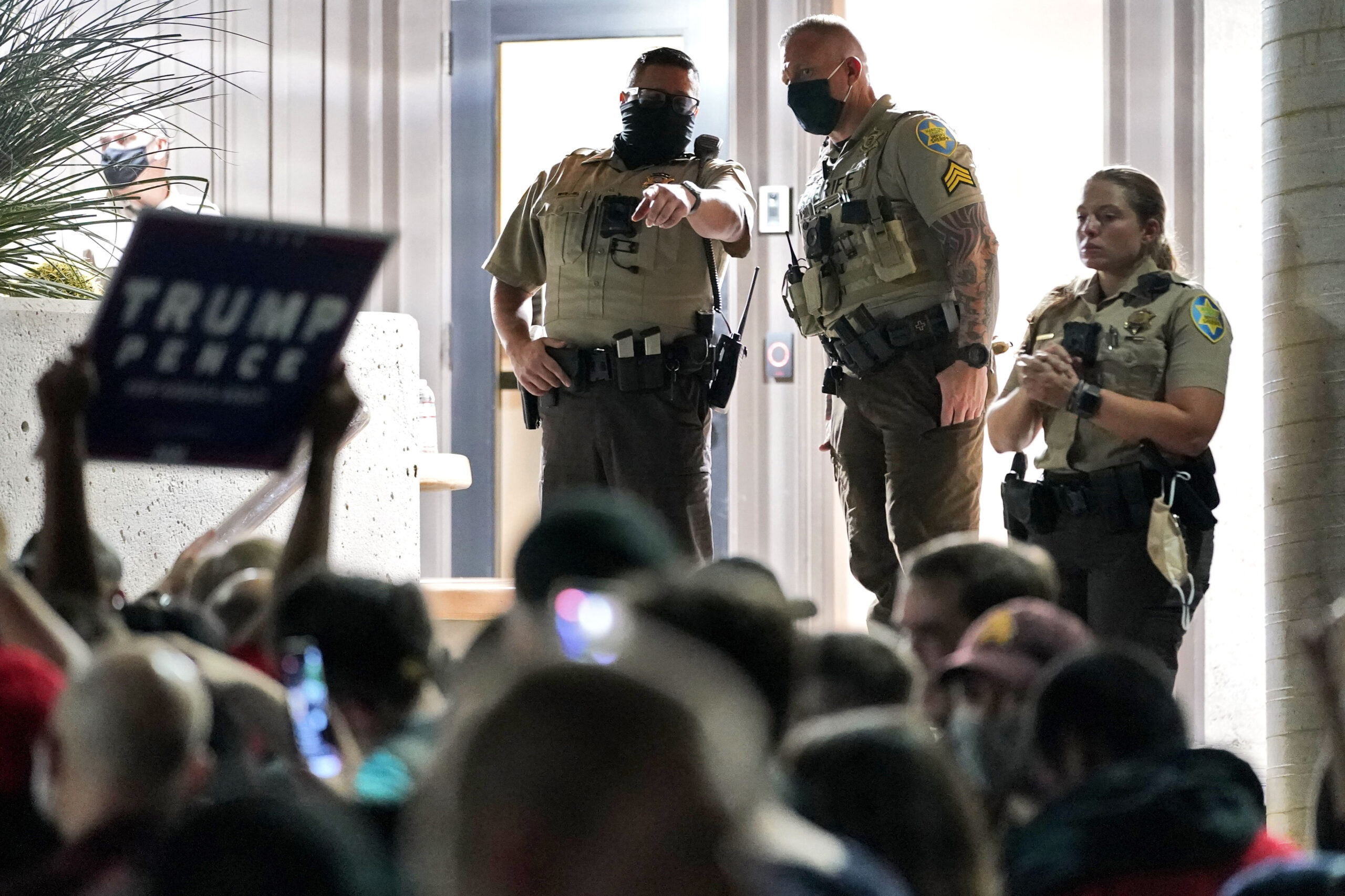 Trump supporters protest at Arizona voting center while ballots are tallied