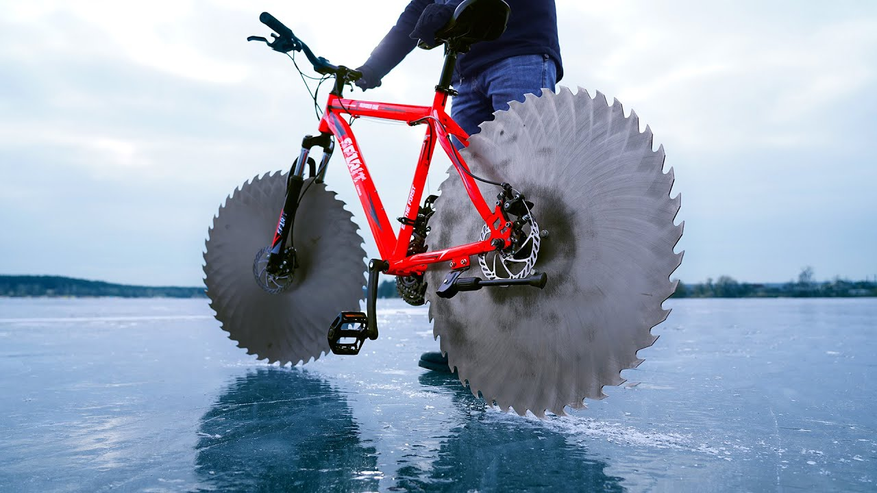 This guy replaced his bike wheels with saw blades to bike on ice