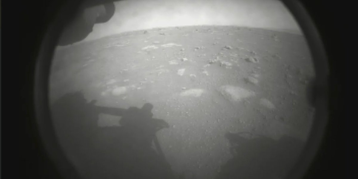 This is the first image taken by NASA's Perseverance Mars rover. Now the hunt for life begins.