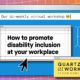 How to promote disability inclusion at your workplace