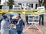 Protesters gather outside Ted Cruz's $2million Houston home