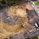 Aerial pictures show blast crater the size of a double decker bus after WWII bomb exploded in Exeter