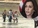 Migrants pouring across the Rio Grande as Kamala Harris STILL hasn't visited the border