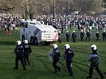 Mounted police TRAMPLE people before turning water cannons on others
