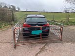 Furious farmer takes revenge on driver who blocked his gate by building fence around BMW