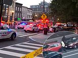 Diners run for their lives as gunfire breaks out in DC: Police release footage of gunmen fleeing