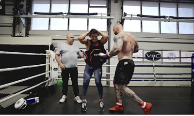 Watch Thor Bjornsson Punch Bodybuilder Jesse James West in the Chest as Hard as He Can
