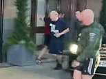 Boris Johnson jogs just a few yards from his car into hotel
