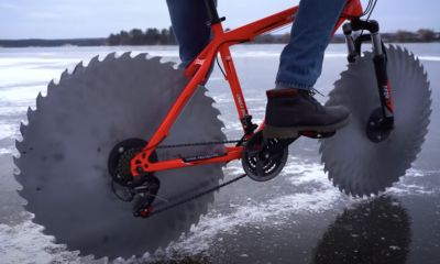 Watch This Guy Replace Bike Tires With Circular Saw Blades
